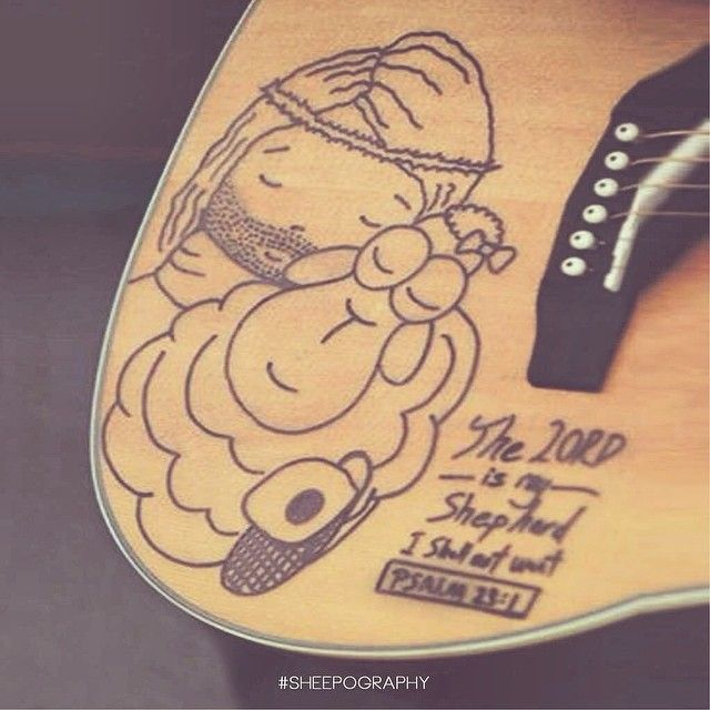 Nothing else matters than to be embrace in the sweet presences of Jesus. Thanks Liz for allowing me to draw on your guitar, it's really an honor and really giving thanks to GOD for it. #sheepography...  A Christian Gifts and Christian Products