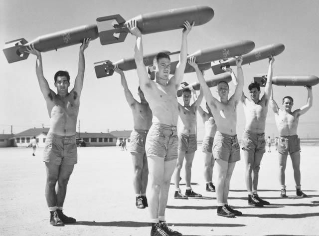 """Daily Calisthenics for U. S. Army Air Forces Bombardiers, World War II, 1940's  U.S. Air Force  Gelatin silver print, 8""""x10""""  National Air and Space Museum, National Air and Space Museum Archives  Image No. 97-17032Bombardier Calisthenics, Burning Fat, Vintage But, Stay Fit, Bombs, Wwii Bombardier, Weights Loss, 1940, Wars Ii"""
