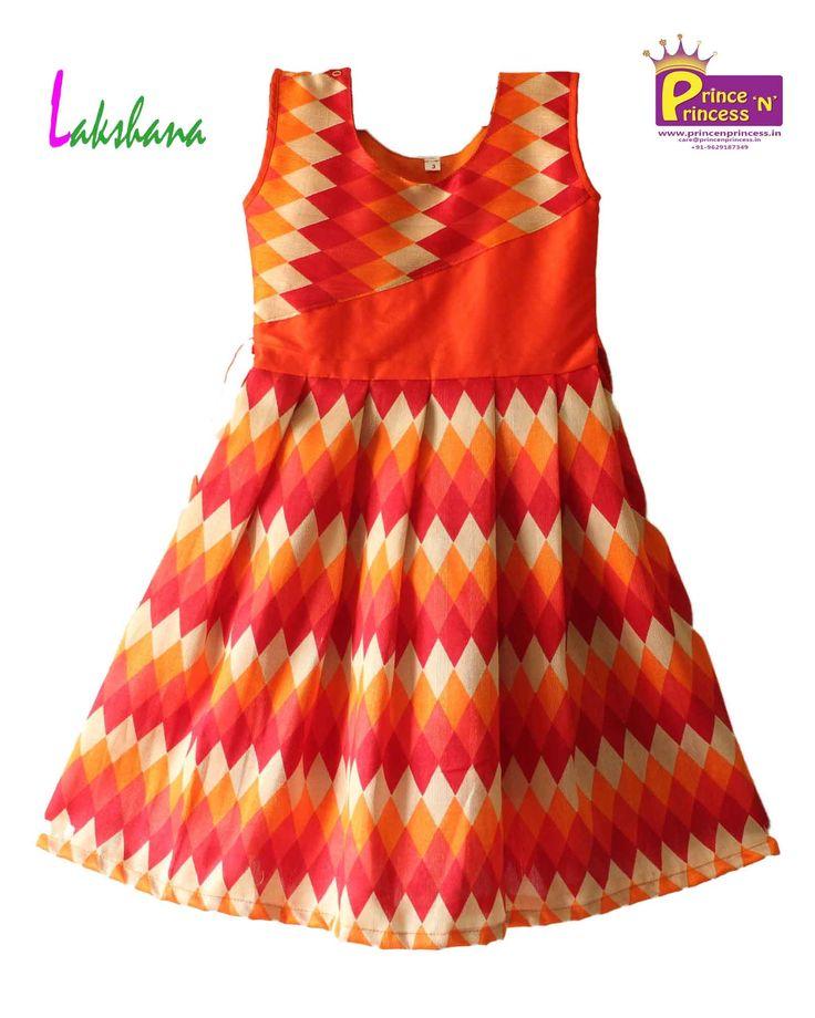 Beautiful Kids Orange Gown Frock www.princenprincess.in