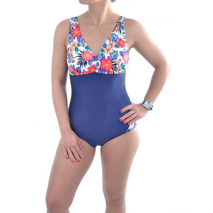 Dámske jednodielne plavky s kvetmi - modré