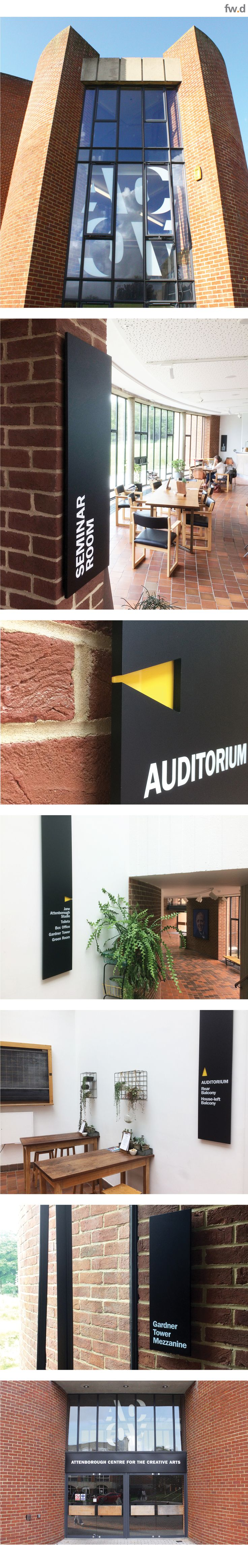 Following the refurbishment of the Attenborough Centre for the Creative Arts fwdesign were asked to implement the new brand mark developed by Pentagram. ACCA opened its doors for the first time and straight into hosting a series of events for the Brighton Festival. We designed and delivered a signage scheme in 3 weeks. We have since been working with ACCA to develop a full range of stunning permanent installations that complement the architecture and comply with Historic Englands guidelines.