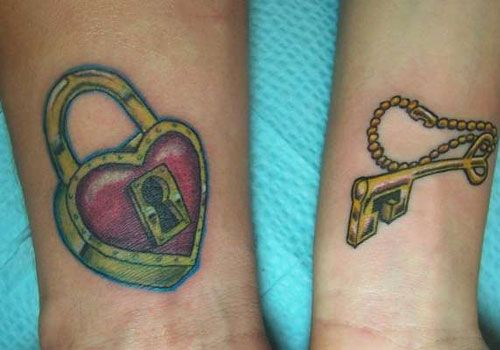 Heart Shaped Lock and Key, his & hers tattoos.