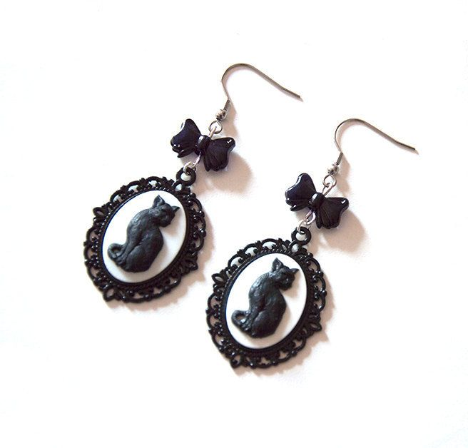 Black and White Cat Cameo Gothic Victorian Earrings by Pornoromantic
