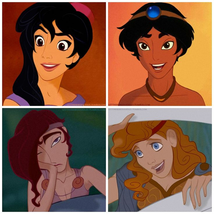 Jasmine, Aladdin, Megara And Hercules Genderbent Character