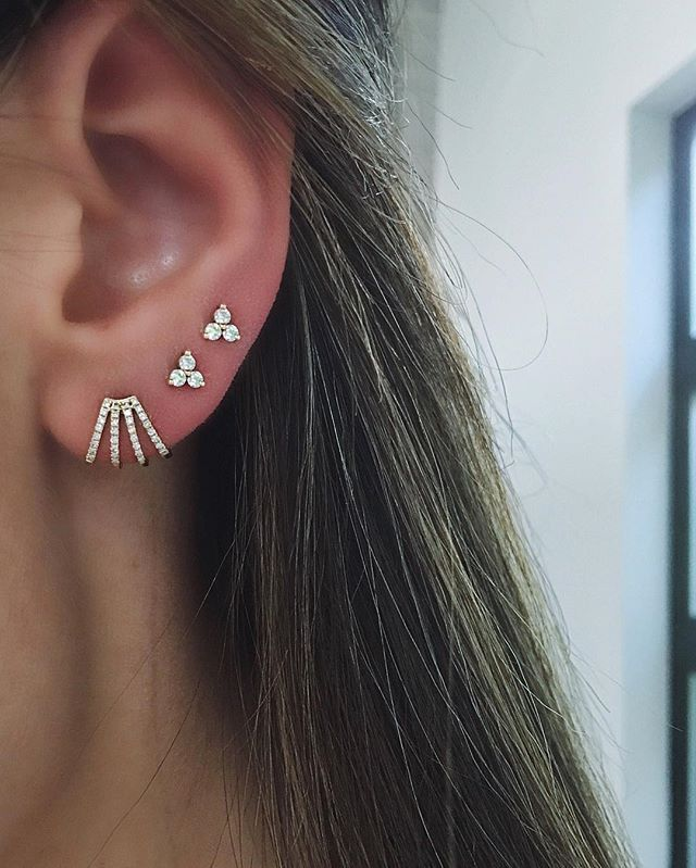 Living in this combo! New EF Collection multi huggie + diamond trio ear studs  Xo, EF