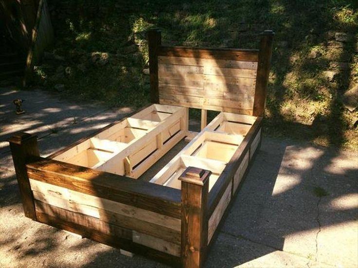 10 ideas about wooden pallet beds on pinterest wooden pallet furniture pallet beds and diy. Black Bedroom Furniture Sets. Home Design Ideas
