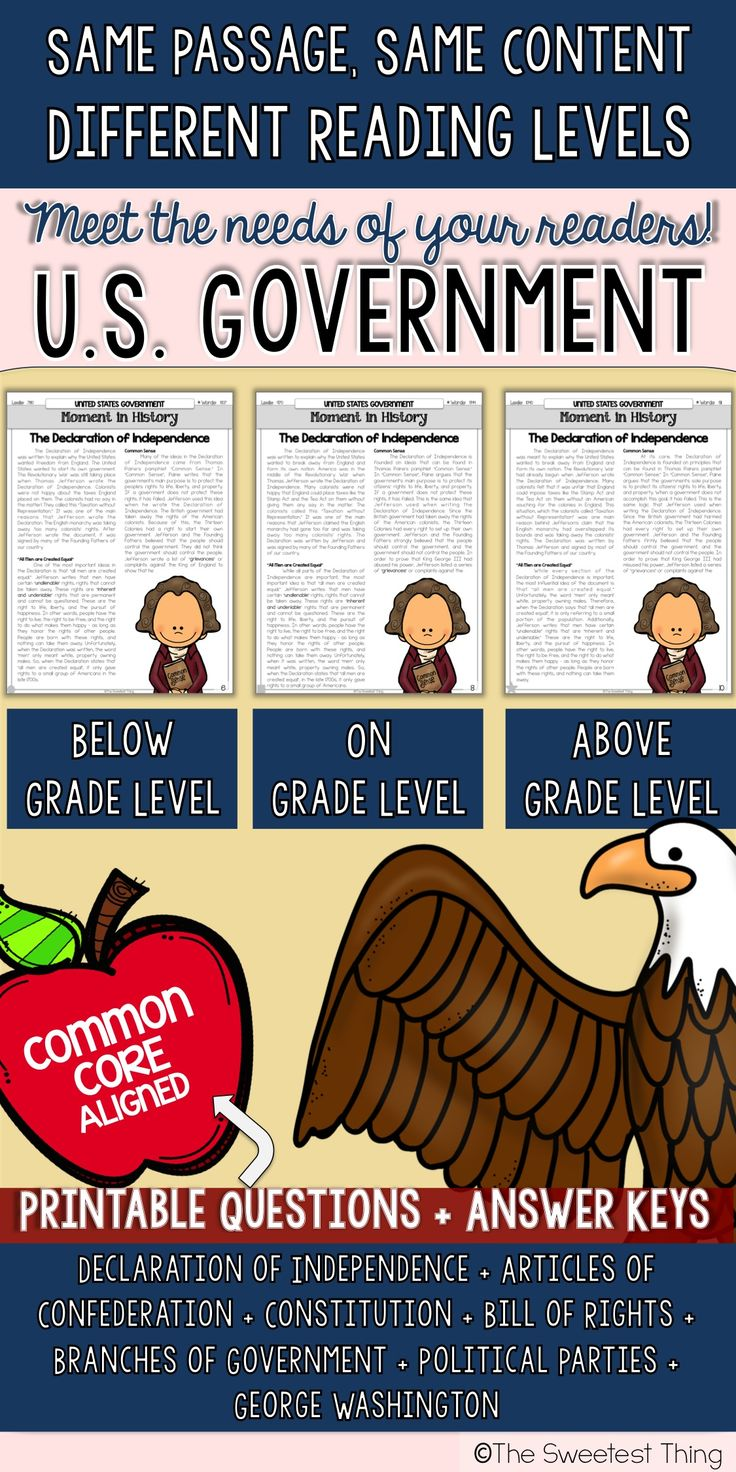 PERFECT for Social Studies integration with ELA! U.S. Government texts for 4th & 5th grade PERFECT for use in Social Studies context or integrated into ELA during guided reading groups! Could also be given as homework! Common core questions and answer keys included.