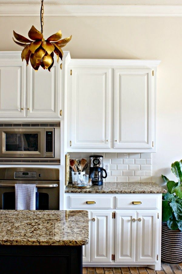 Kitchen Makeover || White Cabinets || Black Island || Brass Hardware || World…