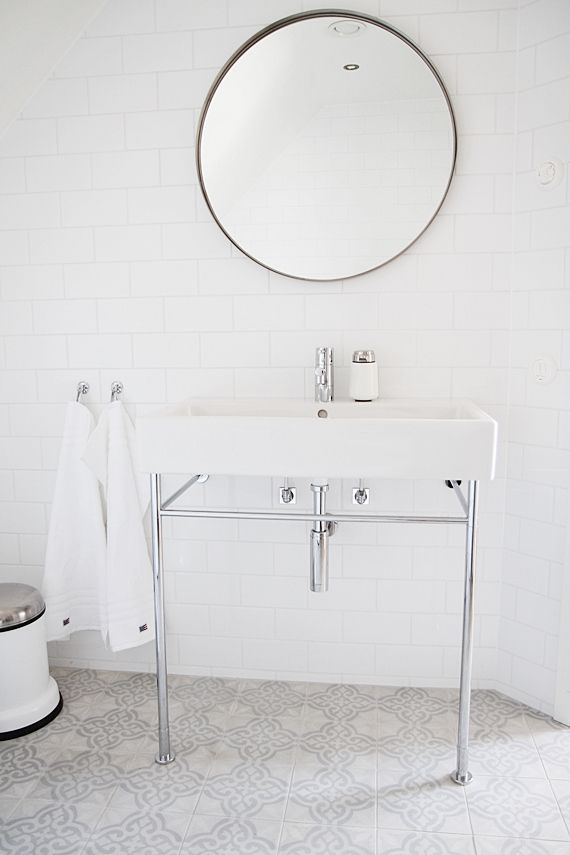 barefootstyling.com Bathroom: oh my look at these floor tiles. Stunning if you go for an all white subway tile on the walls. Basin like this also handy if builder is tricky about the two basin thing. Negative - not much space to put stuff.