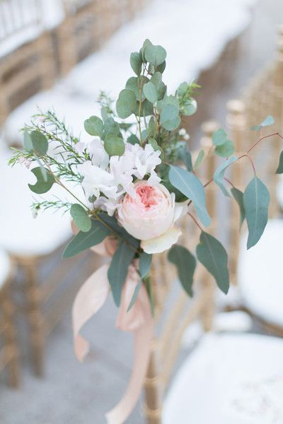Simple wedding cermony aisle markers of peonies and eucalyptus {Thompson Photography Group}