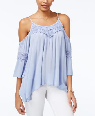 American Rag Crochet-Trim Off-The-Shoulder Top, Only at Macy's