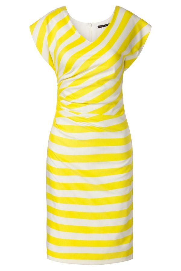 Streep jurk met plooi detail Geel