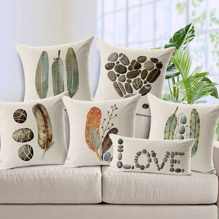 Hand Drawing Feather Stone Printed wholesale Cushion Covers for Home Decor