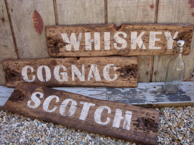 Rustic Distressed Scotch Cognac Whiskey Wood Bar Liquor Sign