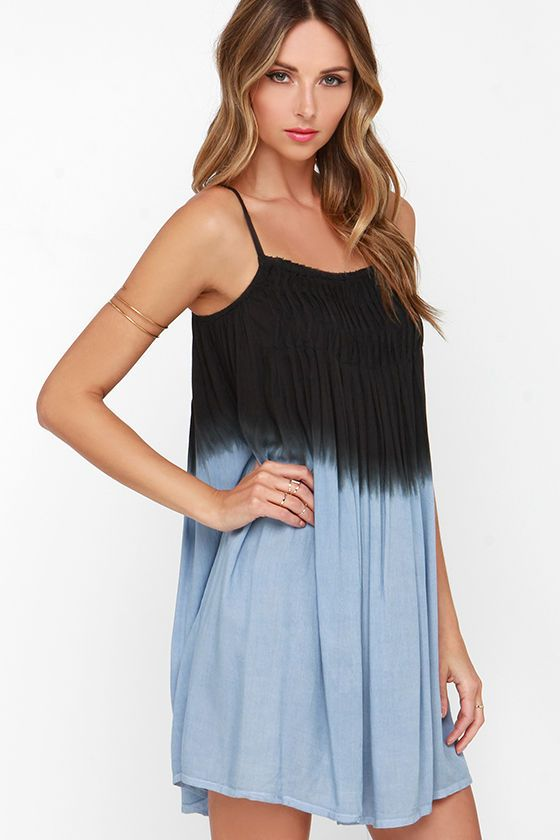 Made in the Shade Black and Blue Dip-Dye Dress at Lulus.com!