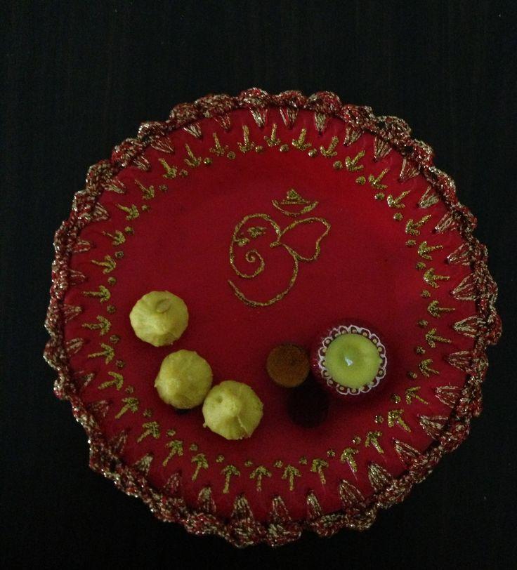 Pooja Thaali - Final product with haldi, kumkum & modaks to complete it