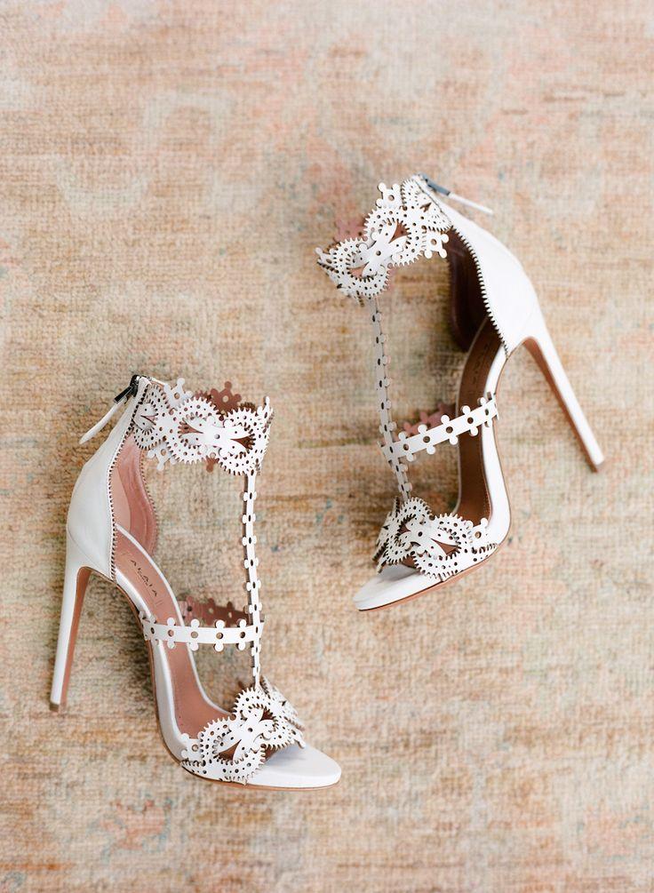 Cutout white sandal wedding shoes: Photography: Jose Villa - http://josevilla.com/