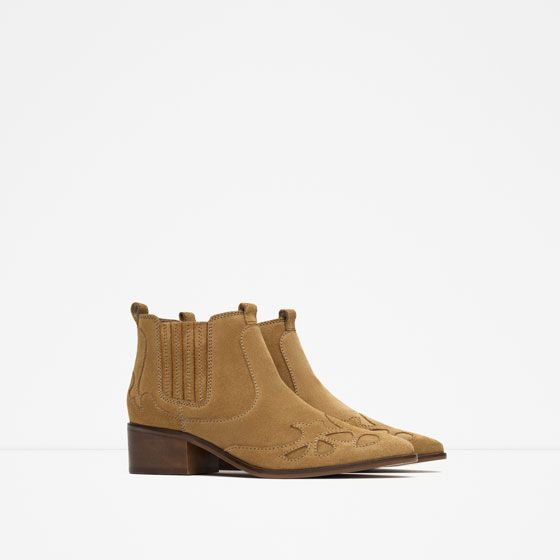 Image 2 of BLOCK HEEL LEATHER COWBOY ANKLE BOOTS from Zara