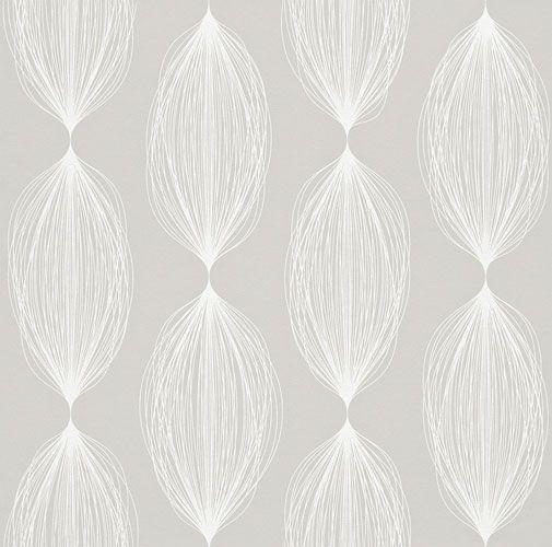 Sobert tapetmönster i retrostil i fin grå nyans från kollektionen Flora  898019. Klicka för att se fler inspirerande tapeter för ditt hem!