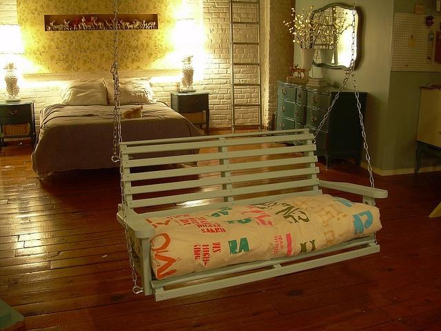 Cozy bedroom swing