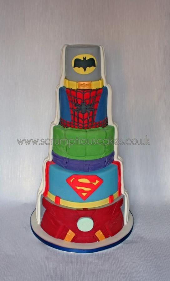 Superhero Wedding Cake by Scrumptious Cakes - http://cakesdecor.com/cakes/273431-superhero-wedding-cake