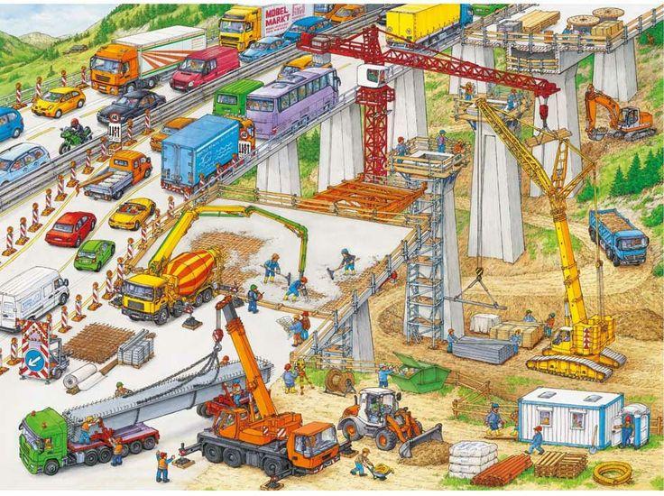 Viaduct bouwen, praatplaat / ravriesigebaustelle