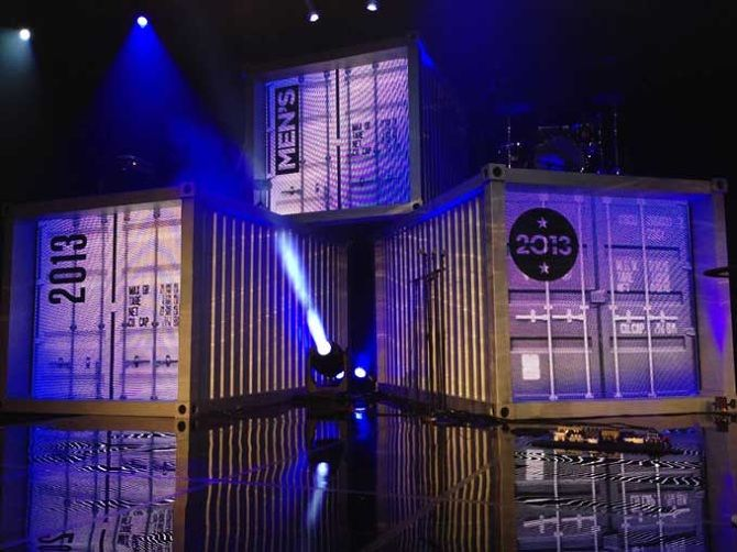This video team used projection screens on the ends of these containers creating an awesome immersive