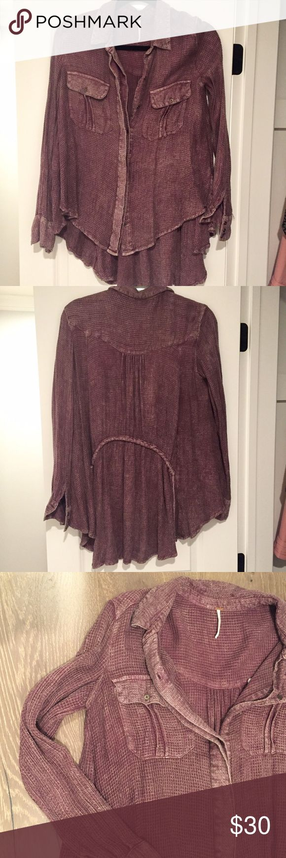 FREE PEOPLE long sleeve loose shirt Free people long sleeve button up loosely fitted top. The distressed look gives it a classy vintage style. Used but good condition. 100% Rayon. Free People Tops Button Down Shirts