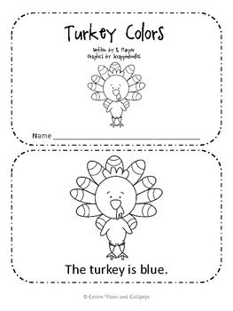 Turkey Colors Emergent Reader Book freebie #thanksgiving #fall