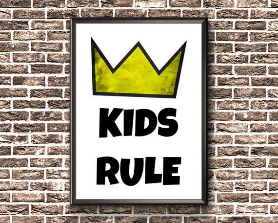 Kids Room Sign  Kids Rule Print  Kids Bedroom Printable