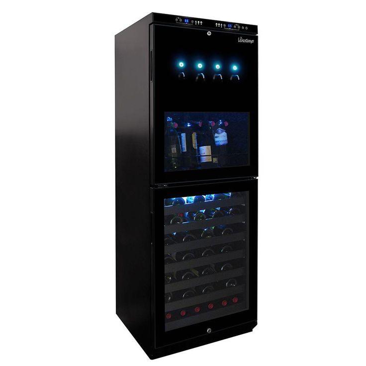 Vinotemp Dual-Zone 4 Bottle Wine Dispenser and 88 Bottle Cooler