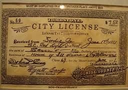 """""""This is a prostitution license from Tombstone, AZ. $7.50 for one year. This one is for a woman who called herself Sadie Jo (prostitutes rarely used their real names). And if you look at the bottom left, it's signed by Wyatt Earp! Even more special, Wyatt Earp ended up marrying Miss Sadie Jo!"""""""