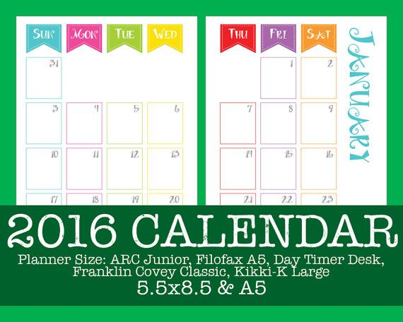 2016 Calendar  Carnival   ARC Filofax Day Timer by OnTaskOnTime