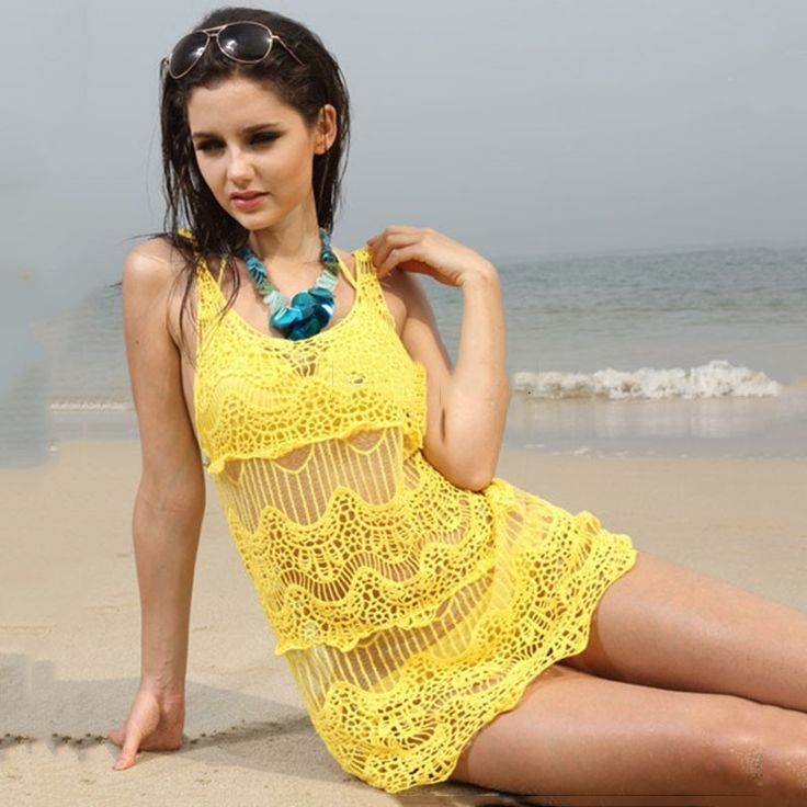 Hollow Out Knitted Crochet Bikini Cover Up