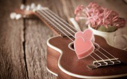 vintage love heart romantic heart guitars flower