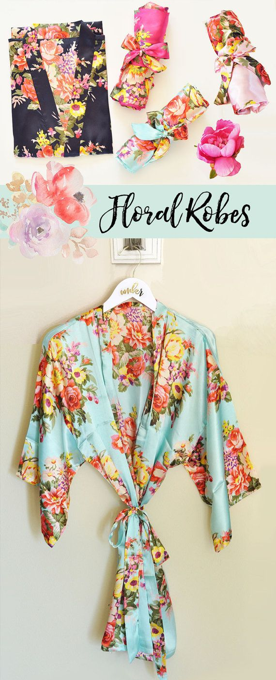 Floral Bridesmaid Robes Wedding Day Robes Bridal Party Robes Floral Robe for Bridesmaids Maid of Honor Robes (EB3152)