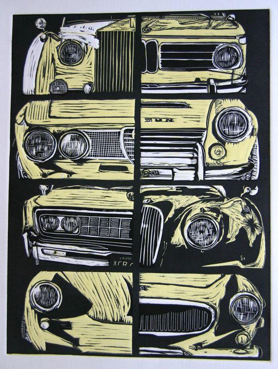 Original Limited Edition Linocut Print - vintage car montage