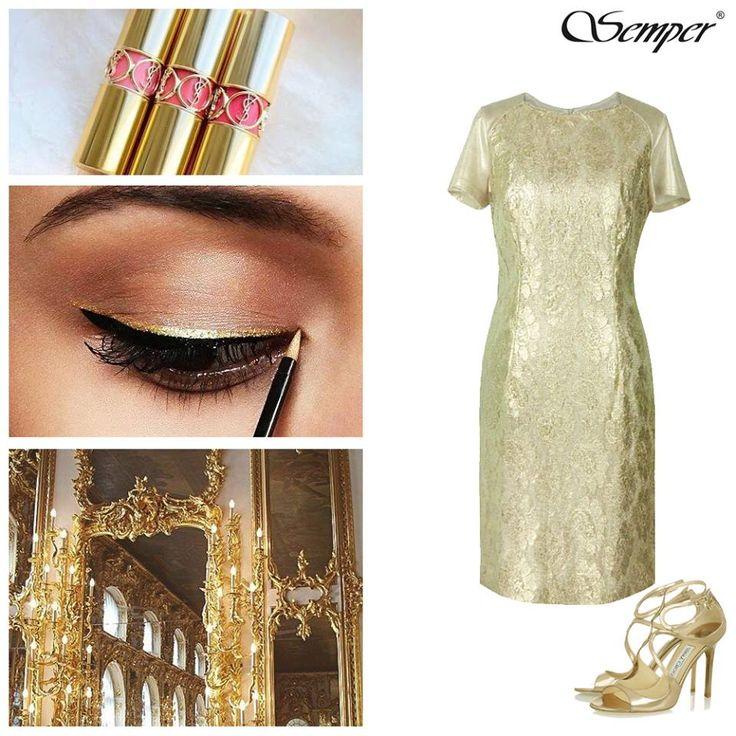 Focus na: Złoty kolor Piękna, kobieca sukienka wykonana z wysokiej jakości dzianiny i efektownej koronki w jasnobeżowym kolorze z delikatnym, złoto-srebrzystym połyskiem <3 #gold #dress #golden #vibes #luxury #fashion #store http://bit.ly/SemperIrmina