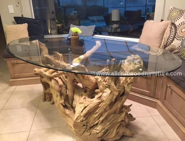 Beautiful driftwood coffee table and driftwood dining table furniture's nautical furniture. Driftwood console table art and driftwood mantel art.