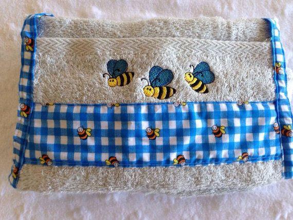 Baby boy buzzy bee bath towel apron
