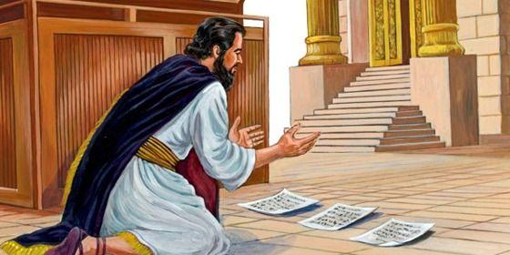 O rei Ezequias ora com as cartas do rei da Assíria espalhadas diante do altar de Jeová