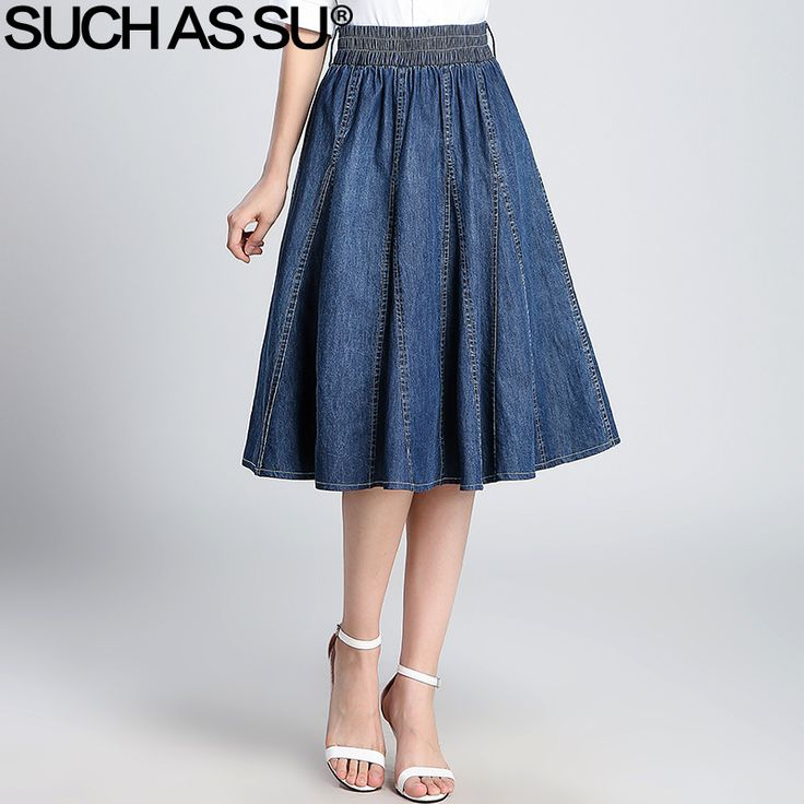 ==> [Free Shipping] Buy Best SUCH AS SU Black Blue Denim Skirt Women 2017 New Fashion Mid Long High Waist Skirt Elastic Waist Female Jean Pleated Skirt Online with LOWEST Price | 32816495151