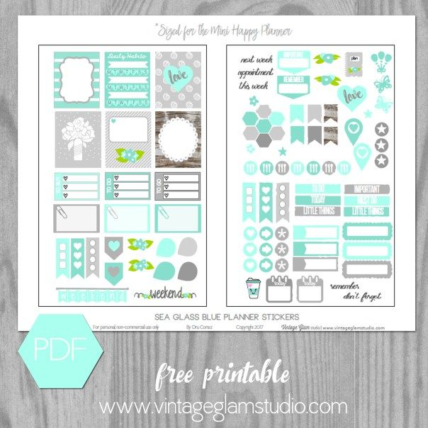 Sea Glass Blue Planner Stickers | Free printable suitable for Mini Happy Planner and other personal planners