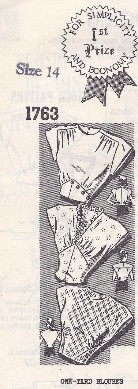 Vintage Sewing Pattern Women's One Yard Blouse- This one is sold, but perhaps I'll use it as inspiration.