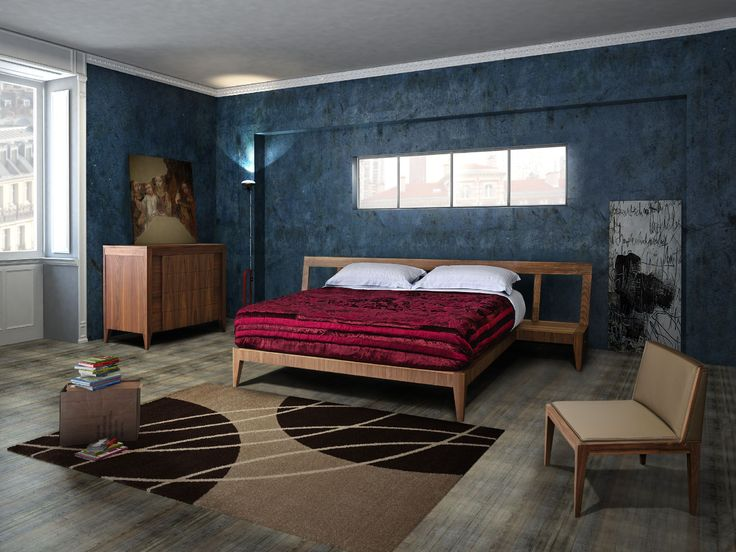 MAGIC DREAM. Bed made of canaletto walnut wood with two integrated bedside tables into the headboard. Design Giuseppe Viganò
