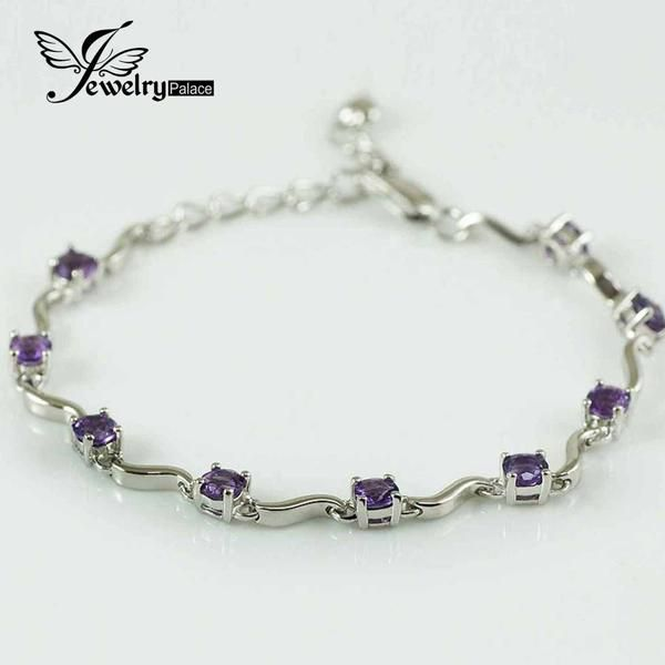 Natural Purple Round Amethyst Gemstone Chain & Link Bracelets Solid 925 Sterling Silver Dazzling Natural Gem Stone bijoux - cubic zirconia jewelry