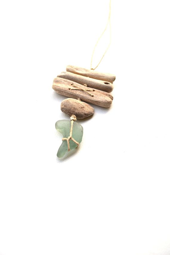 Charm/Necklace handmade from driftwood and sea glass by Grazim, $15.00