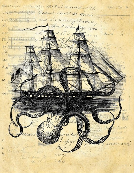octopus attacking ship | Kraken Octopus Attacking Ship Multi Collage Background Art Print by ...