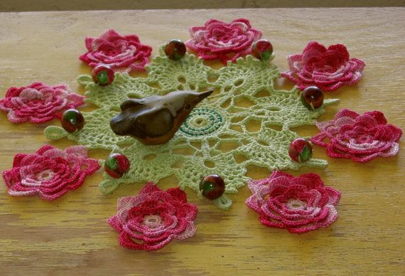 Beaded Cluny Lace Irish Rose Doily  Crochet Lace Flowers on #bmecountdown
