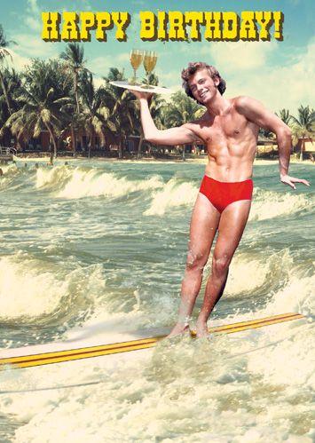 Happy Birthday Waiter Surfer Greeting Card by Max Hernn